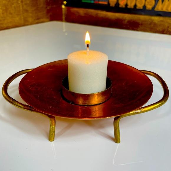 VINTAGE Copper & Brass Standing Candle Holder
